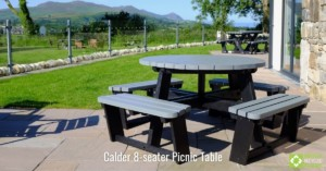 Calder 8-seater picnic table in grey