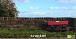 Harewood bench in red and black