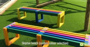 Skipton bench in custom rainbow
