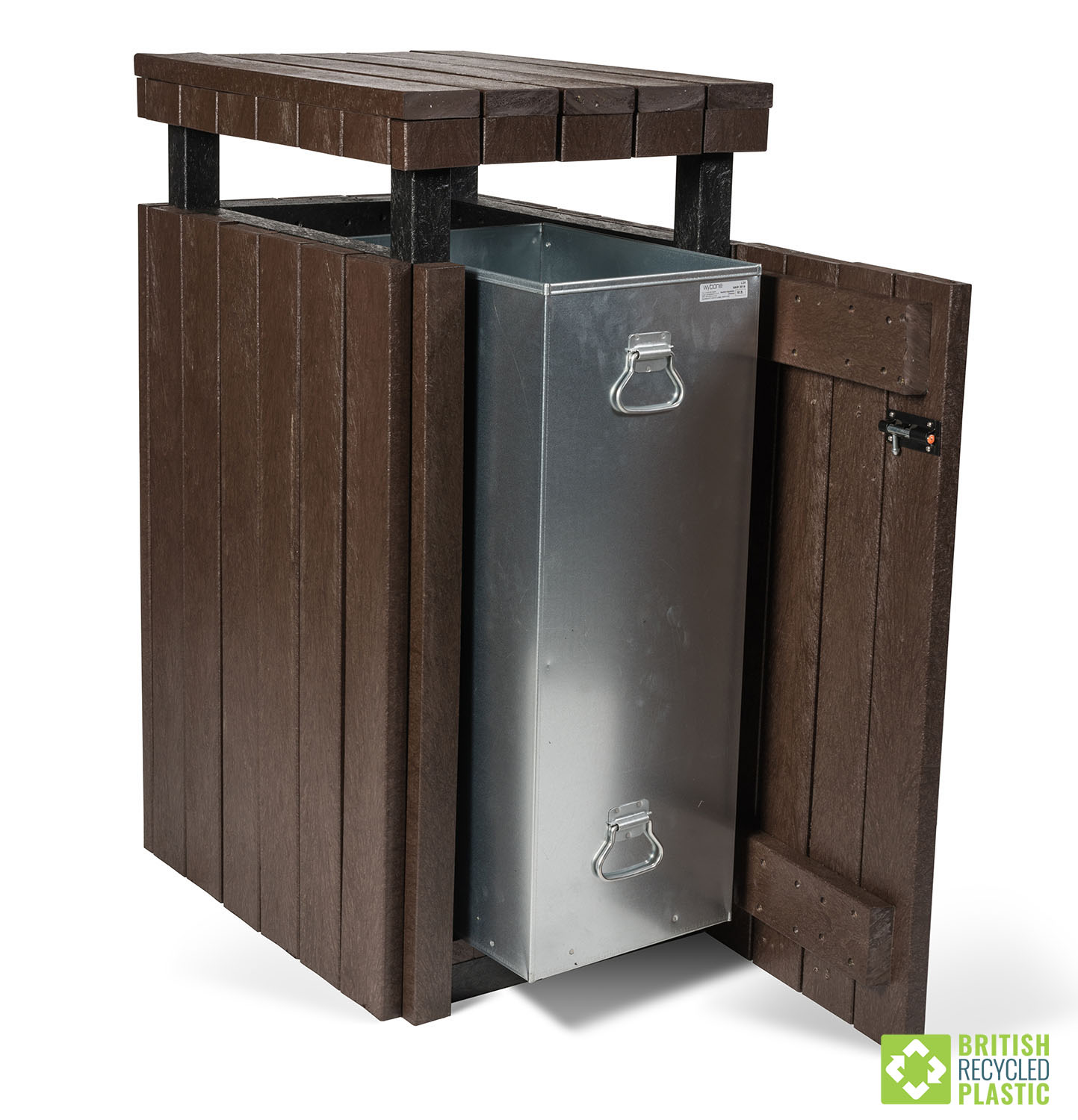 recycled plastic litter bin with top and steel insert