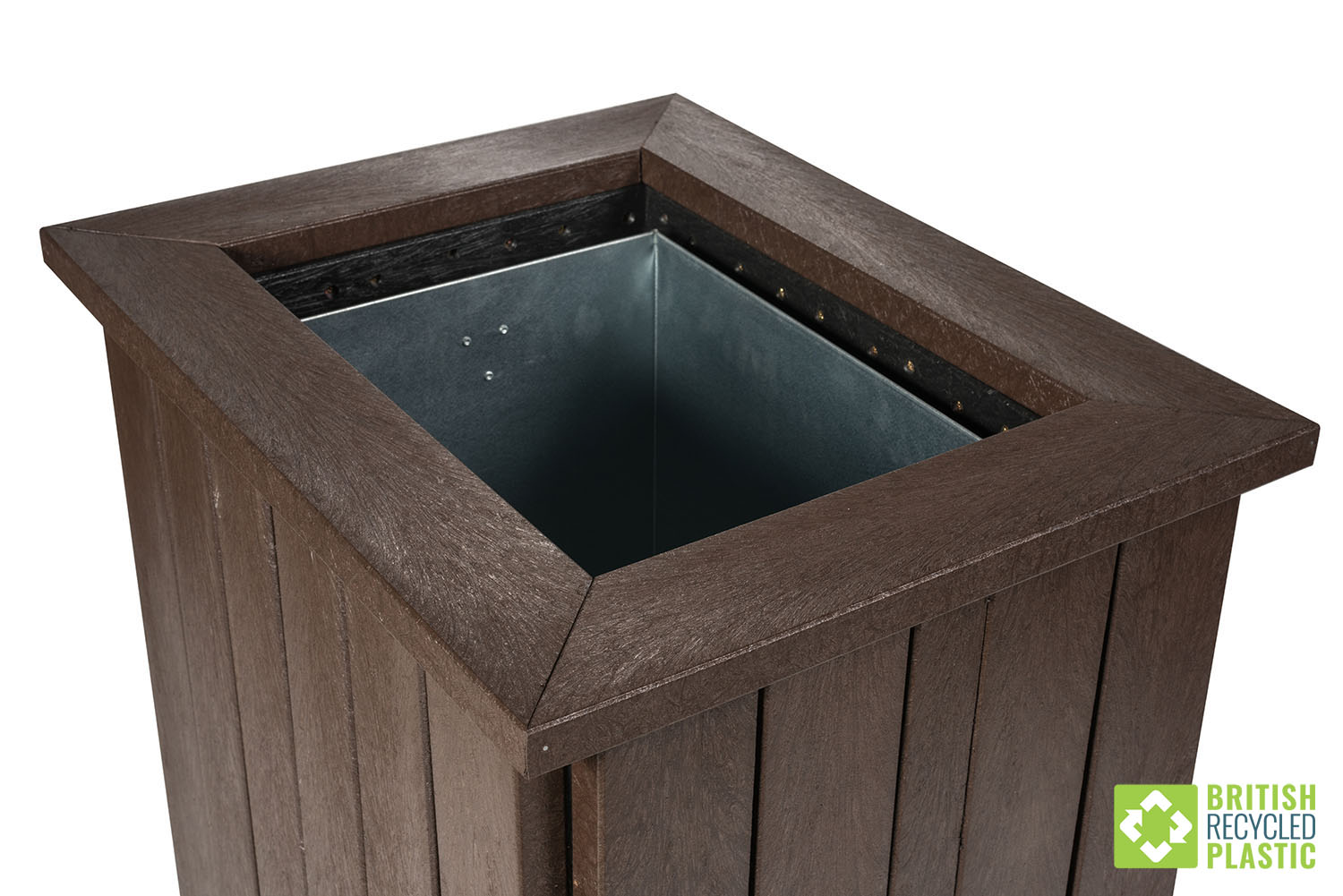 Open topped recycled plastic litter bin with steel insert