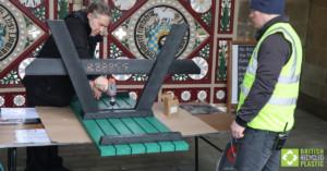 Green Denholme picnic table under construction