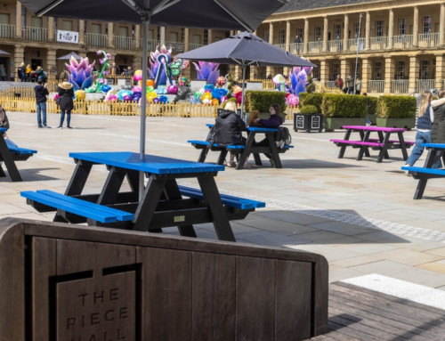 Coloured picnic tables – revisiting The Piece Hall