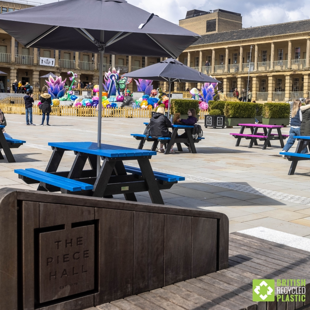 Blue Denholme picnic table at the Piece Hall