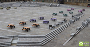 Various Denholme picnic tables at The Piece Hall