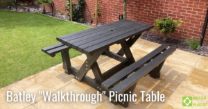 Batley Walkthrough Picnic Table engineered from British Recycled Plastic