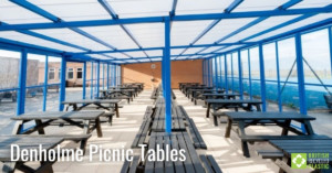 Denholme Picnic Tables in black engineered from British Recycled Plastic