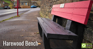 Harewood bench in red and black engineered from British Recycled Plastic