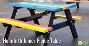 Holmfirth Junior Picnic Table in rainbow engineered from British Recycled Plastic