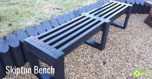 Skipton bench in black, engineered from British Recycled Plastic