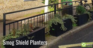 Smog Shield planters in black engineered from British Recycled Plastic