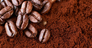 Coffee beans and grounds ready to be turned into bioplastic
