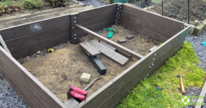 Customer raised bed project using British Recycled Plastic - cross-brace detail