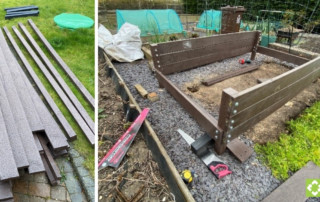 Customer raised bed project using British Recycled Plastic - under construuction