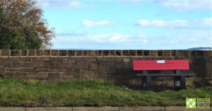 Harewood bench in red and black, engineered from British Recycled Plastic